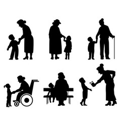 grandmothers and grandson silhouettes vector image