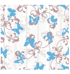 Grunge butterflies with stripes and floral element vector image vector image