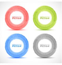 Set of Hand drawn watercolor circles design elemen vector image vector image