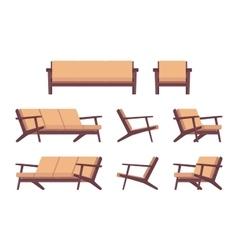 Set of retro cream sofa and armchair vector image