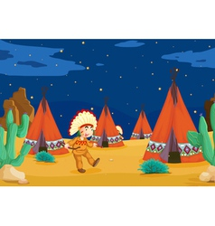 tent house and kid vector image vector image