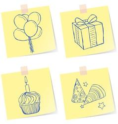 Birthday party sketches vector image vector image