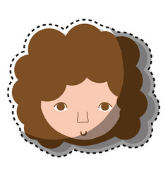 man face with curly hair icon vector image vector image
