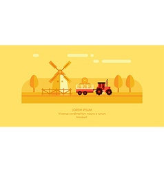 Rural Farm Landscape Mill and Tractor with Trailer vector image