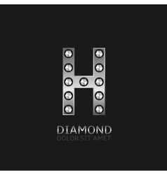 Silver H letter vector image