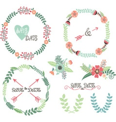 Wedding Wreath Laurel Elements vector image vector image