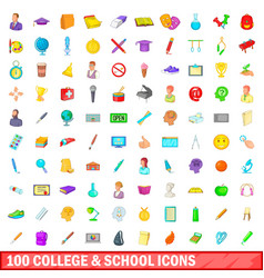 100 college and school icons set cartoon style vector