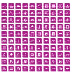 100 globe icons set grunge pink vector