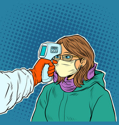 A doctor measures temperature a woman in a vector