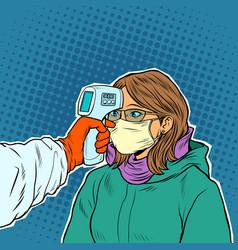 A doctor measures temperature woman vector