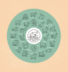 A large circular icon set rural animals vector