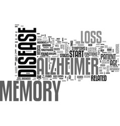 Alzheimers history text word cloud concept vector