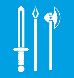 Ancient weapon sword pick and axe icon white vector