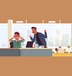 Angry boss shouting at male sad employee stress vector