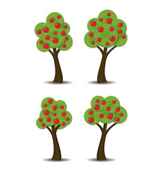 apple trees with fruits vector image
