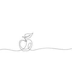 Apple with leaf continuous one line drawing black vector