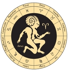 Aries with the signs of the zodiac vector image