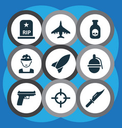 Army icons set collection of bombshell rip vector