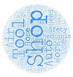 Auto Shop Safety text background wordcloud concept vector