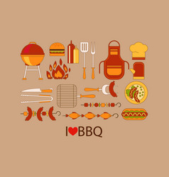 barbecue design elements grill kitchen utensils vector image