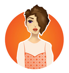 Beautiful girl with big eyes red lips vector