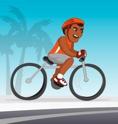 Bicyclist black riding vector