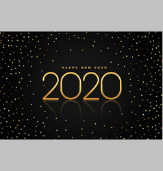 black and golden glitter 2020 happy new year vector image