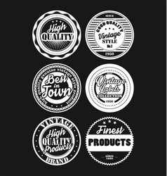 Black and white vintage labels collection 6 vector