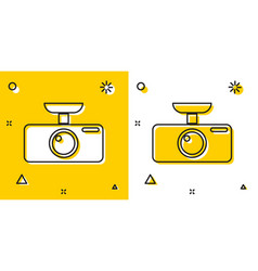 Black car dvr icon isolated on yellow and white vector