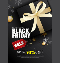 black friday sale flyer template dark background vector image