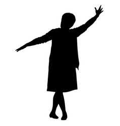 black silhouettes woman lifted his hand on white vector image vector image