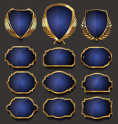 Blank gold and blue frame and label collection 2 vector