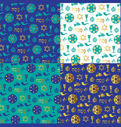 Blue gold passover background patterns vector