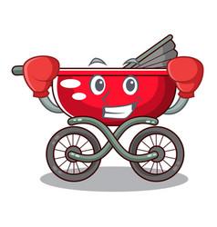 Boxing cartoon baby stroller walk in the park vector