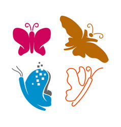 Butterfly application line logo design icon set vector