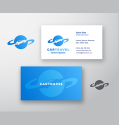 car travel abstract logo and business card vector image