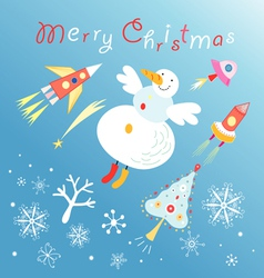 card with a flying snowman vector image