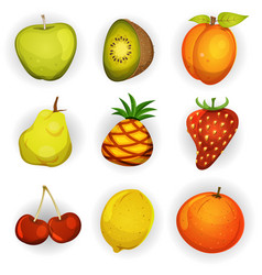 cartoon fruit icons set vector image
