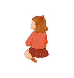 cartoon girl sitting listening attentively vector image