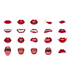 Cartoon icons big set isolated cute mouth vector