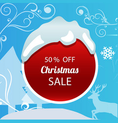 Christmas sale poster on blue background vector
