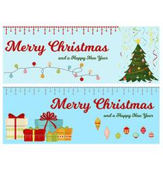 christmas tree with fir gifts balls banner lights vector image