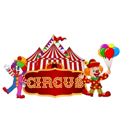 Circus tent with clown isolated vector