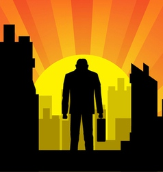 city with businessman vector image