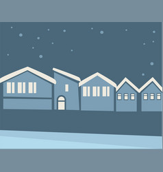 Cityscape at winter night snowy skyline in vector