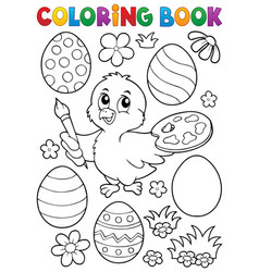 coloring book easter eggs and chicken 1 vector image