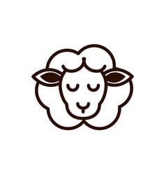 Cute face sheep animal cartoon icon thick line vector