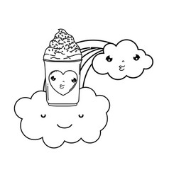 cute ice cream with cloud and rainbow vector image