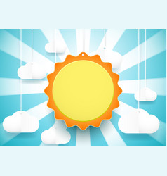 cute sun and clouds background paper art vector image
