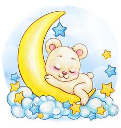 Cute watercolor white bear boy sleeping on the vector